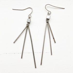 Vintage silver long spike drop earrings